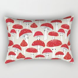 Red mushrooms on the light background Rectangular Pillow