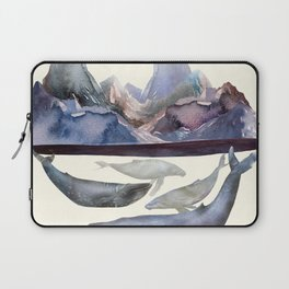 Whales Swiming under the Moutains Laptop Sleeve