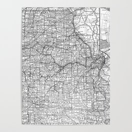 Vintage Map of Missouri (1891) BW Poster