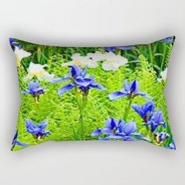 WHITE-BLUE IRIS & FERNS GARDEN Rectangular Pillow