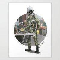 pilot Art Prints featuring Pilot by Kalegiro