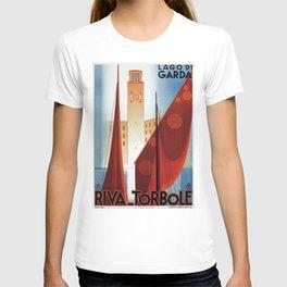 Art deco vintage Italian travel Riva Torbole Lake Garda T-shirt
