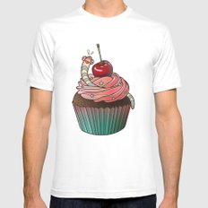 SWEET WORMS 1 - cupcake MEDIUM White Mens Fitted Tee