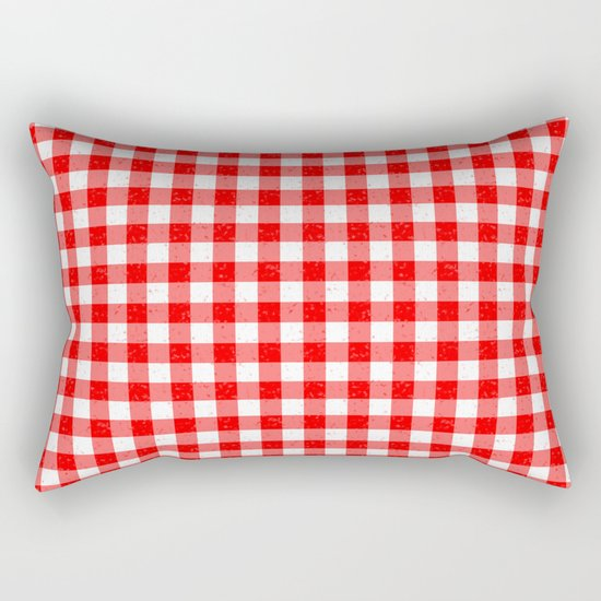Gingham Red and White Pattern Rectangular Pillow