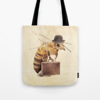 bee Tote Bags featuring Worker Bee by Eric Fan