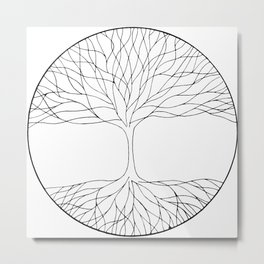 black and white minimalist tree of life line drawing Metal Print