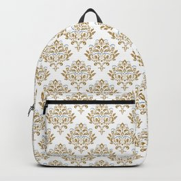 Crafted Damask Inspired Gold Pattern with Blue Accents Backpack