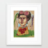 frida Framed Art Prints featuring FRIDA by busymockingbird