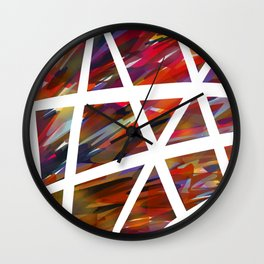 Colorful Chaos - White Stripes Wall Clock