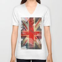 union jack V-neck T-shirts featuring Union Jack by Honeydripp Designs