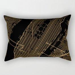 Black and gold New York City map Rectangular Pillow