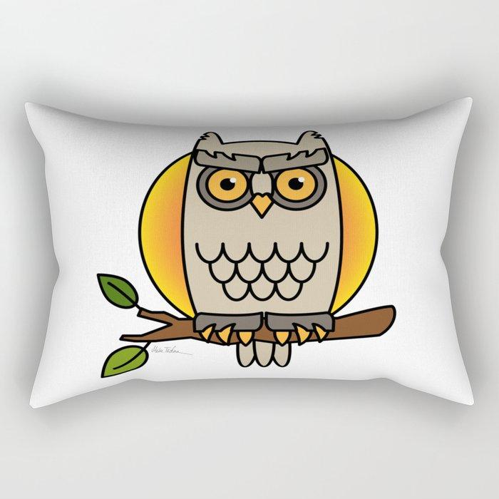 Owl in a Circle Rectangular Pillow