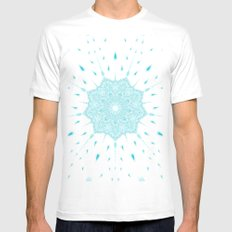 Turquoise MEDIUM White Mens Fitted Tee