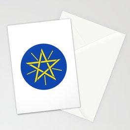 Ethiopian Flag Emblem Pentagram Wicca Stationery Cards