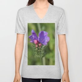 Viper's bugloss blue and pink flowers 2 Unisex V-Neck