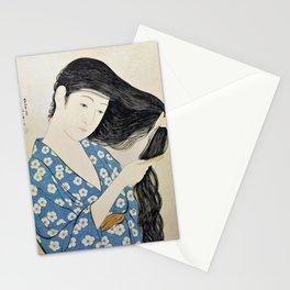 12,000pixel-500dpi - Hashiguchi Goyo - Combing Hair woman Stationery Cards