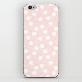 Snowfall White Polka Dots on Pink iPhone Skin