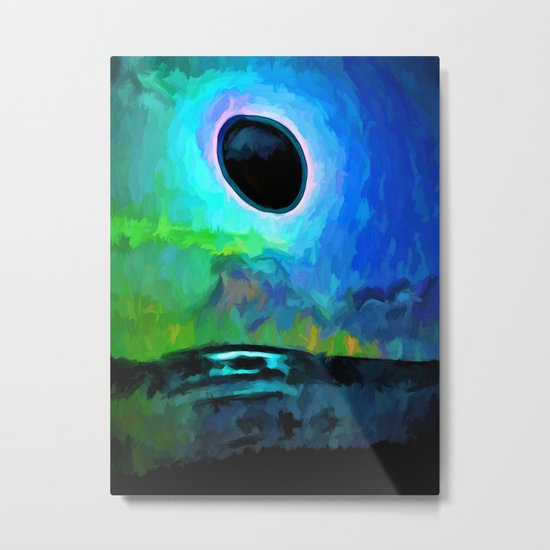 Eclipse in a Blue and Green Sky and on the Sea Metal Print