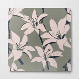 Amaryllis Floral Line Drawing, Light Rose and Navy on Earth Green Metal Print
