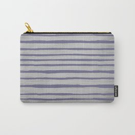Violet gray silver watercolor brushstrokes stripes Carry-All Pouch