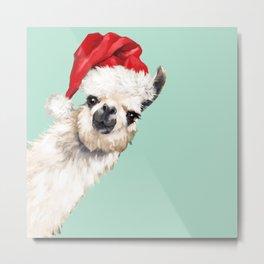 Christmas Sneaky Llama Metal Print