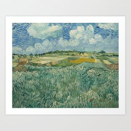 Plain at Auvers with rain clouds Art Print