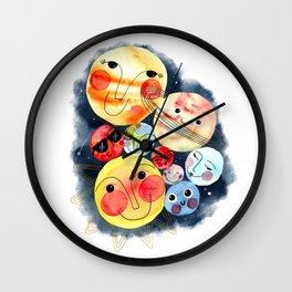 Planet Friends - Kids Universe Galaxy Outerspace Solar System Watercolor Wall Clock