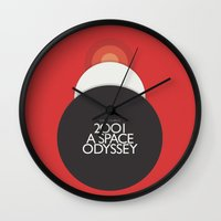stanley kubrick Wall Clocks featuring 2001 A Space Odyssey - Stanley Kubrick Poster, Red Version by Stefanoreves