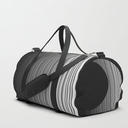 Sleek Gray Toned Stripes and Silvery Moon Duffle Bag