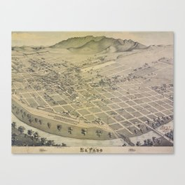 Vintage Pictorial Map of El Paso Texas (1886) Canvas Print