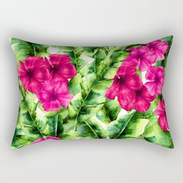 green banana palm leaves and pink flowers Rectangular Pillow