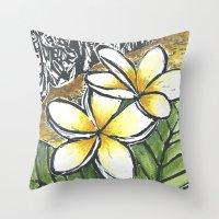 puerto rico Throw Pillows featuring Frangipani Freedom, Puerto Rico (Plumeria alba)   by Cheralyn Darcey