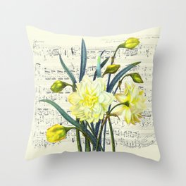 Daffodil Spring Song Throw Pillow