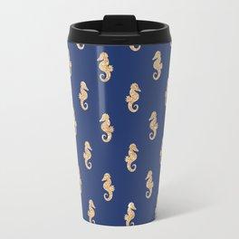 Elegant navy blue faux gold glitter nautical seahorse pattern Travel Mug