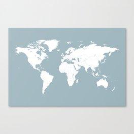 Minimalist World Map in Slate Blue Canvas Print