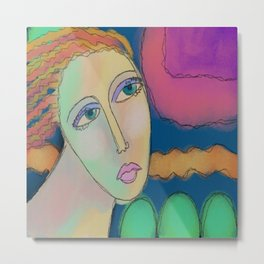 Abstract Portrait of a Woman Digital Painting  Metal Print