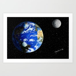 Drawing the Earth and the Moon Art Print