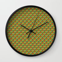 vegetarian Wall Clocks featuring burger vegetarian and french fries by fmppstudio