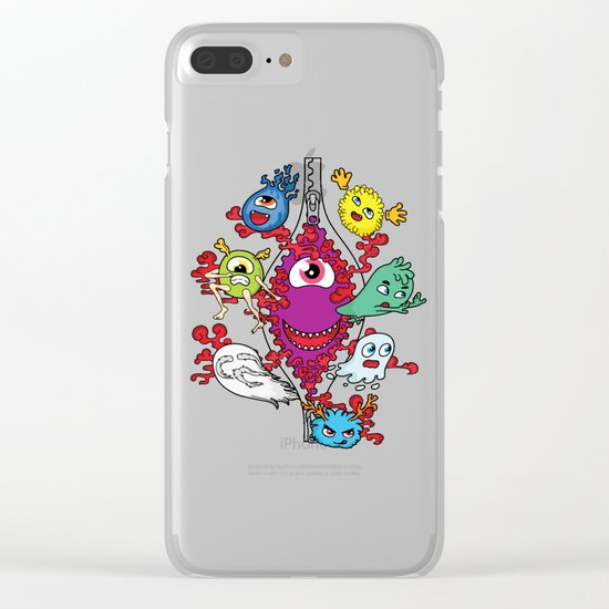 Monsters under the zipper Clear iPhone Case