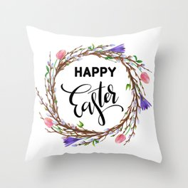 Happy Easter - Spring tulip willow branch Wreath Throw Pillow