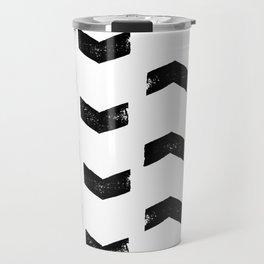 Chevron Pattern Black & White Travel Mug