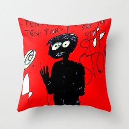 PANIC - red Throw Pillow