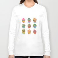 cupcakes Long Sleeve T-shirts featuring Cupcakes by Jean Balogh