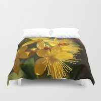 marc johns Duvet Covers featuring Turkish St Johns Wort Wild Flower Vector Image by taiche