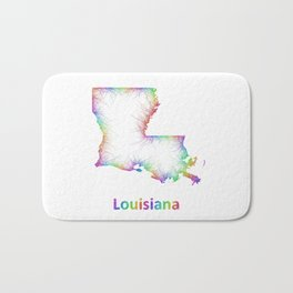 Rainbow Louisiana map Bath Mat
