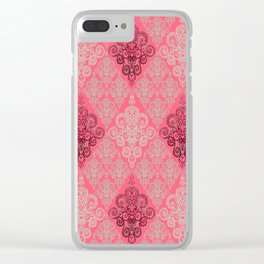 red&grey Baroque Pattern on gentle raspberry Clear iPhone Case