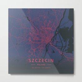 Szczecin, Poland - Neon Metal Print