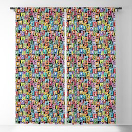 Pattern from stamps with 30 great composers (color version) Blackout Curtain