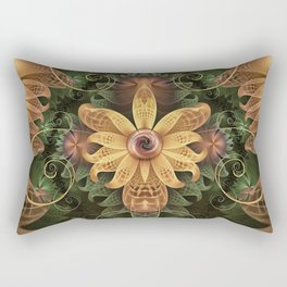 Beautiful Filigree Oxidized Copper Fractal Orchid Rectangular Pillow