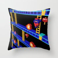 donkey kong Throw Pillows featuring Inside Donkey Kong stage 4 by Metin Seven